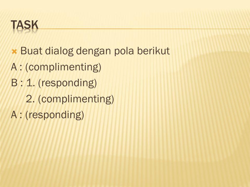  Buat dialog dengan pola berikut A : (complimenting) B : 1.