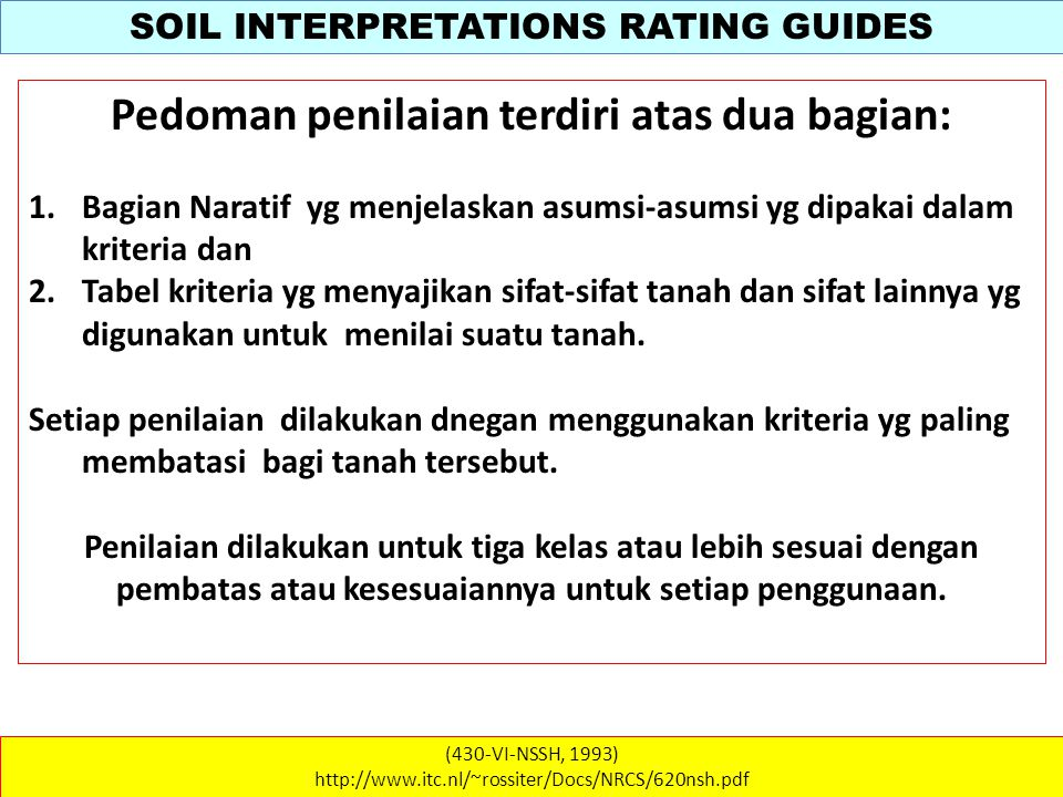 SOIL INTERPRETATIONS RATING GUIDES (430-VI-NSSH, 1993) http://www.itc.nl/~rossiter/Docs/NRCS/620nsh.pdf WATER QUALITY Soil Survey interpretations are developed for use in evaluating and determining the potential of the soil to transmit pesticides through the profile and the likelihood of the contamination of ground-water supplies.