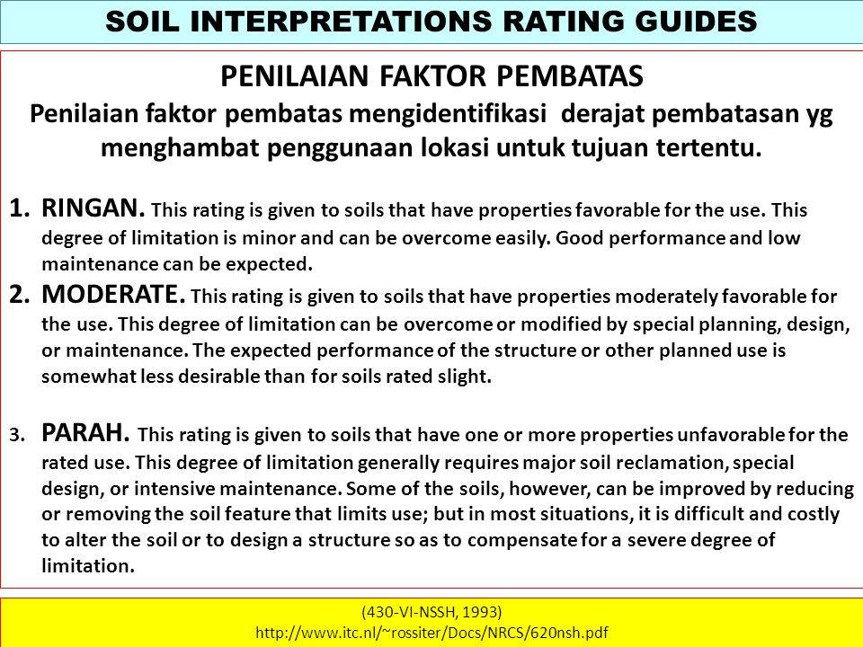 SOIL INTERPRETATIONS RATING GUIDES (430-VI-NSSH, 1993) http://www.itc.nl/~rossiter/Docs/NRCS/620nsh.pdf WATER QUALITY Soil erodibility is represented by the K factor, which is estimated from soil particle –size distribution, organic matter content, structure, and permeability.