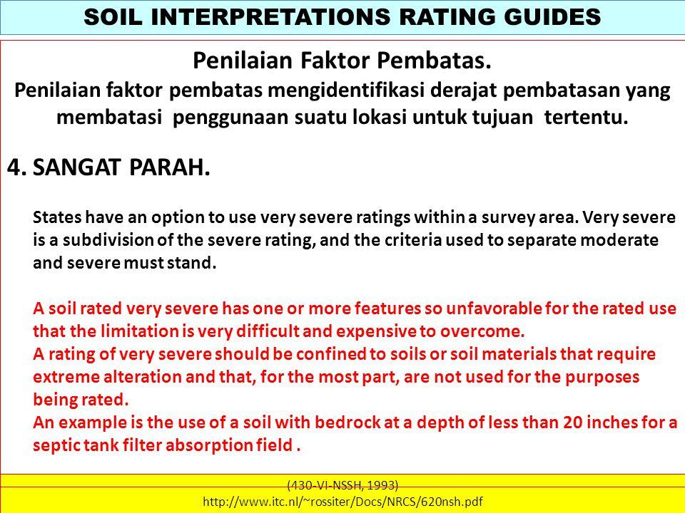 SOIL INTERPRETATIONS RATING GUIDES (430-VI-NSSH, 1993) http://www.itc.nl/~rossiter/Docs/NRCS/620nsh.pdf WATER MANAGEMENT Table 620-32 Irrigation.