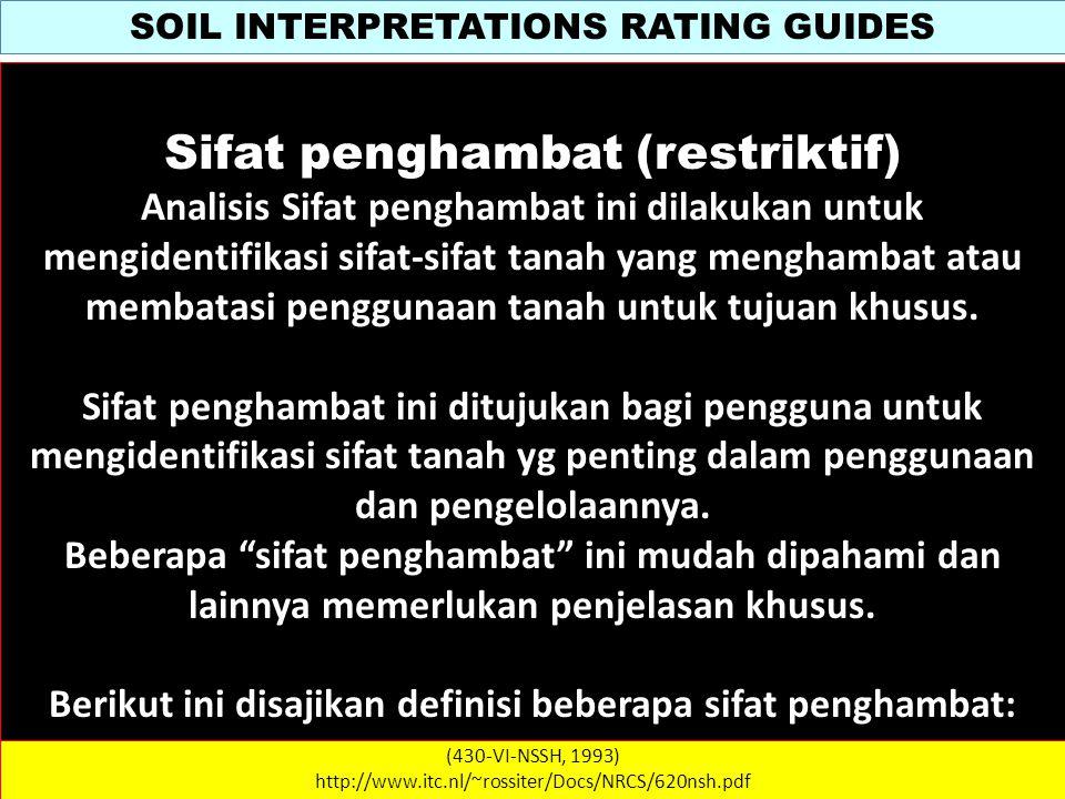 SOIL INTERPRETATIONS RATING GUIDES (430-VI-NSSH, 1993) http://www.itc.nl/~rossiter/Docs/NRCS/620nsh.pdf WATER MANAGEMENT NoSifat / CiriPembatasSifat Penghambat RINGANMODERATPARAH 4 5 6 7 8