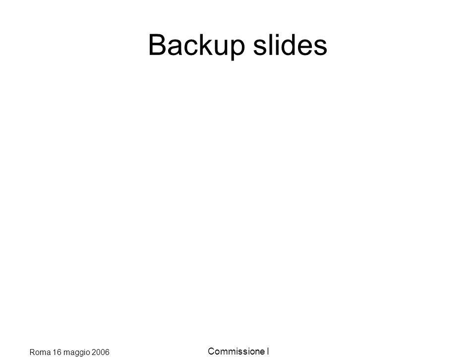 Roma 16 maggio 2006 Commissione I Backup slides