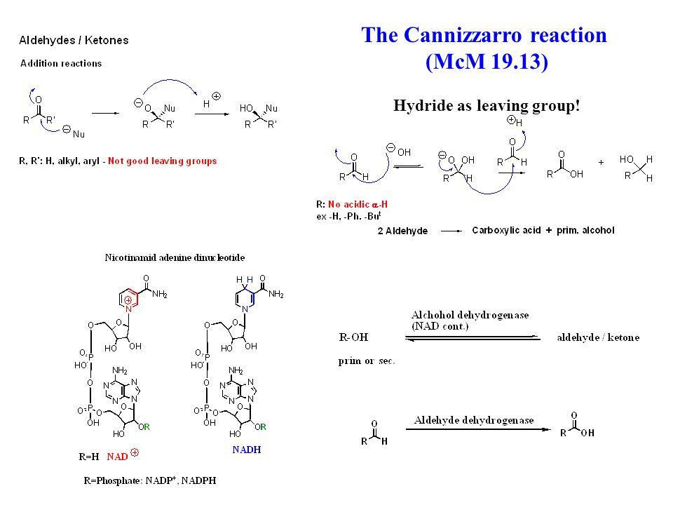 The Cannizzarro reaction (McM 19.13) Hydride as leaving group!