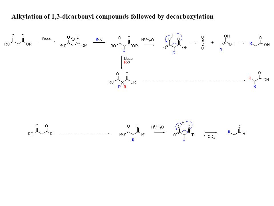 Alkylation of 1,3-dicarbonyl compounds followed by decarboxylation