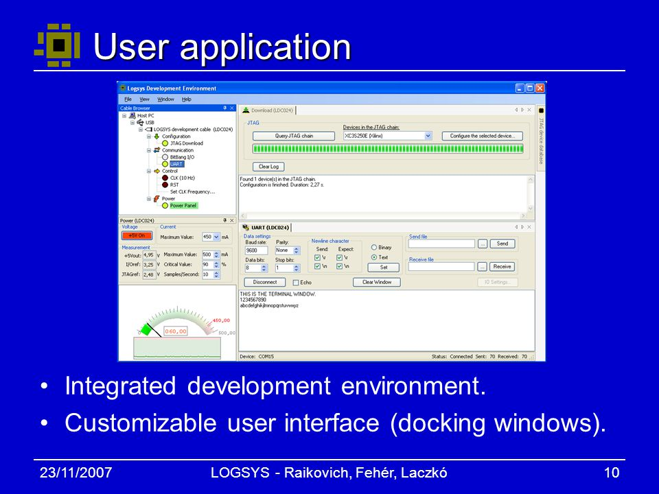 23/11/2007LOGSYS - Raikovich, Fehér, Laczkó10 User application Integrated development environment.