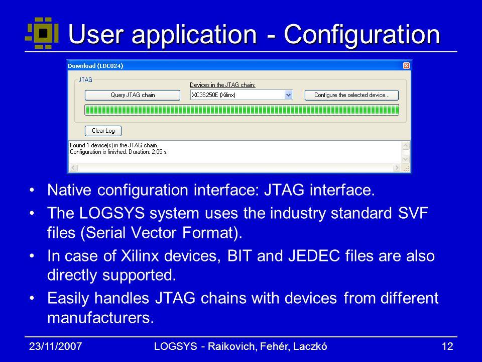 23/11/2007LOGSYS - Raikovich, Fehér, Laczkó12 User application - Configuration Native configuration interface: JTAG interface.