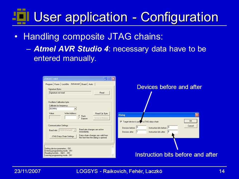 23/11/2007LOGSYS - Raikovich, Fehér, Laczkó14 User application - Configuration Handling composite JTAG chains: –Atmel AVR Studio 4: necessary data have to be entered manually.