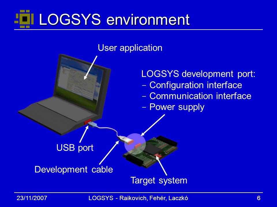 23/11/2007LOGSYS - Raikovich, Fehér, Laczkó6 LOGSYS environment User application Target system Development cable USB port LOGSYS development port: - Configuration interface - Communication interface - Power supply