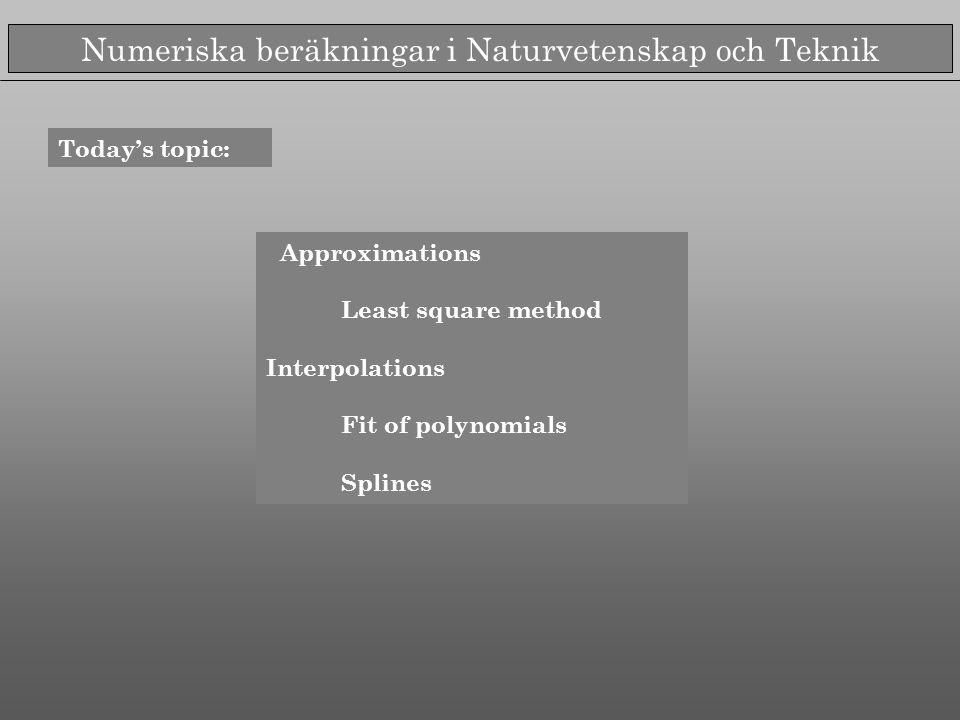 Numeriska beräkningar i Naturvetenskap och Teknik Today's topic: Approximations Least square method Interpolations Fit of polynomials Splines
