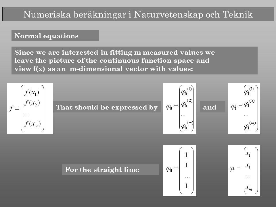 Numeriska beräkningar i Naturvetenskap och Teknik Normal equations Since we are interested in fitting m measured values we leave the picture of the co