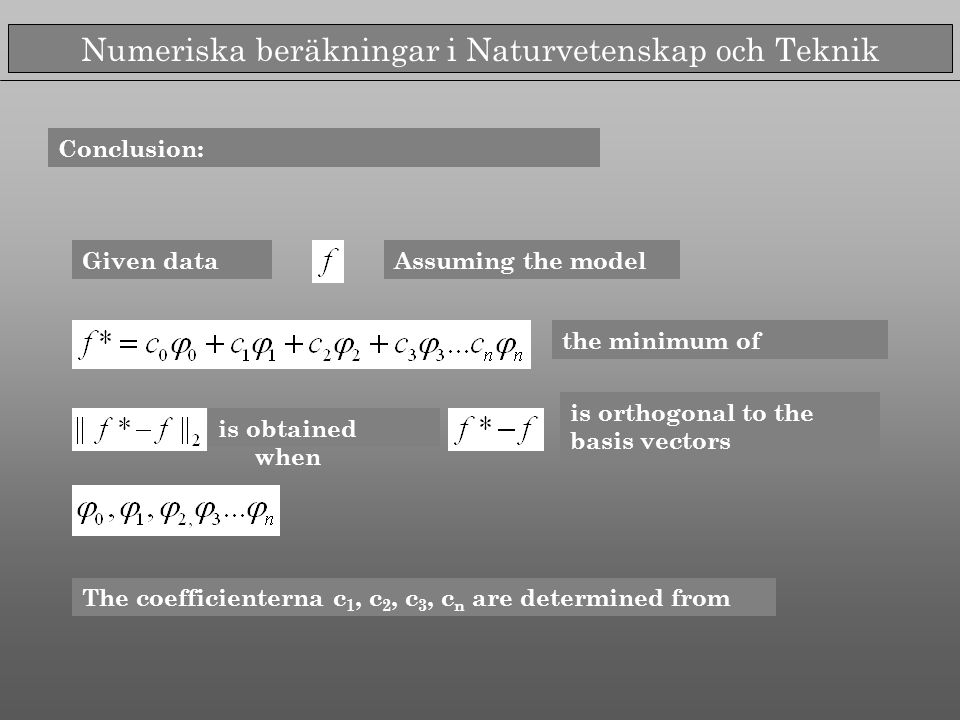 Numeriska beräkningar i Naturvetenskap och Teknik Conclusion: the minimum of is orthogonal to the basis vectors Assuming the modelGiven data is obtained when The coefficienterna c 1, c 2, c 3, c n are determined from