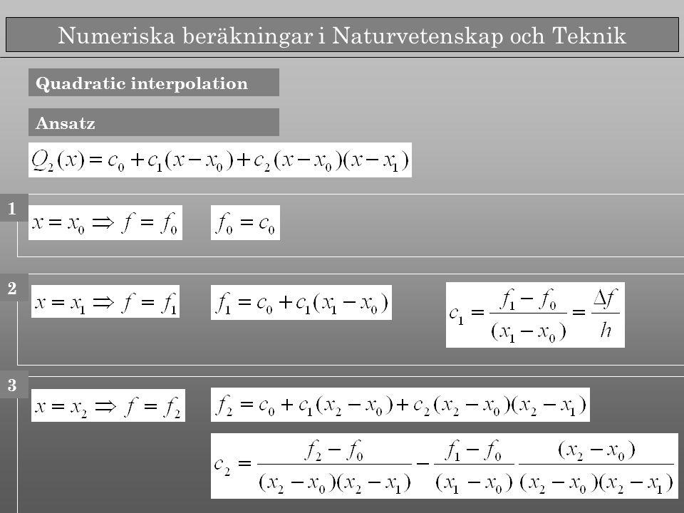 Numeriska beräkningar i Naturvetenskap och Teknik Quadratic interpolation Ansatz 1 2 3