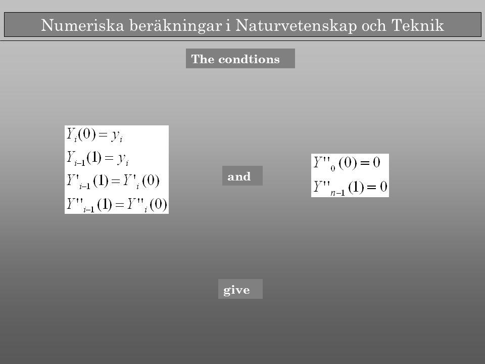Numeriska beräkningar i Naturvetenskap och Teknik The condtions and give
