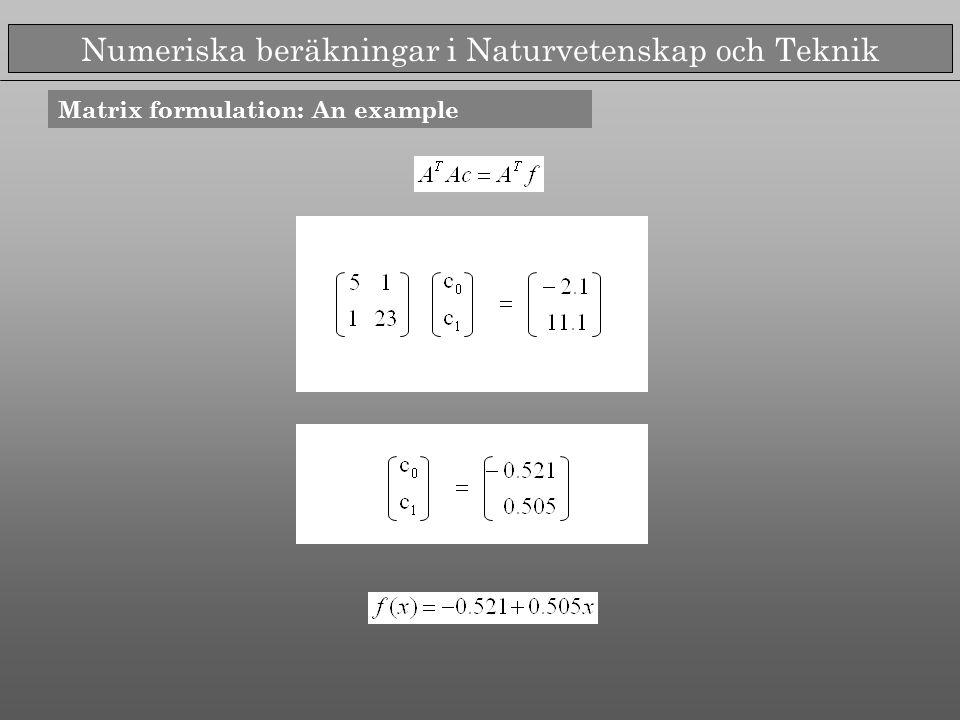 Numeriska beräkningar i Naturvetenskap och Teknik Exemple Interpolation of polynomial of order 4,8,16 in equidistant points Fit of polynomial of order 6 to 9 equidistant points