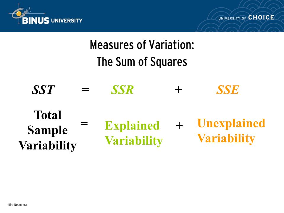 Bina Nusantara Measures of Variation: The Sum of Squares SST = SSR + SSE Total Sample Variability = Explained Variability + Unexplained Variability