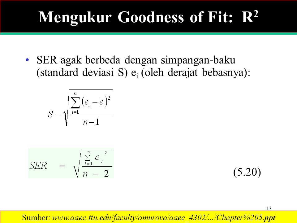 13 SER agak berbeda dengan simpangan-baku (standard deviasi S) e i (oleh derajat bebasnya): (5.20) Sumber: www.aaec.ttu.edu/faculty/omurova/aaec_4302/.../Chapter%205.ppt Mengukur Goodness of Fit: R 2