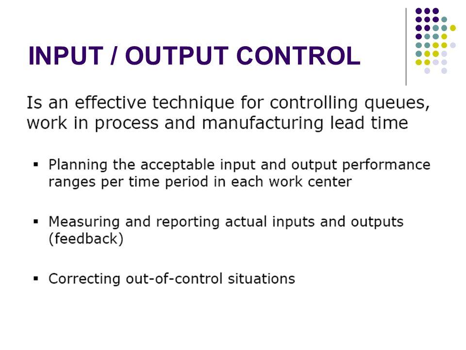 INPUT / OUTPUT CONTROL