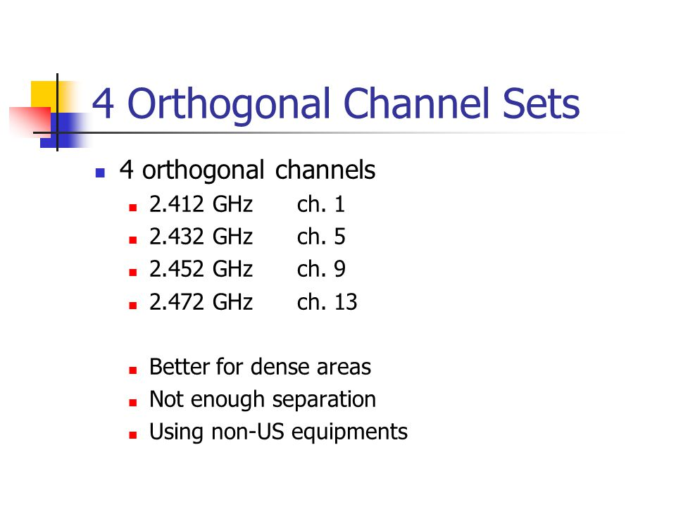 4 Orthogonal Channel Sets 4 orthogonal channels 2.412 GHzch.
