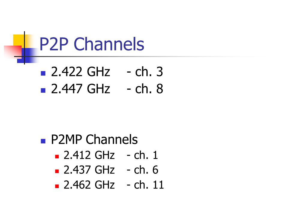P2P Channels 2.422 GHz- ch. 3 2.447 GHz- ch. 8 P2MP Channels 2.412 GHz- ch.