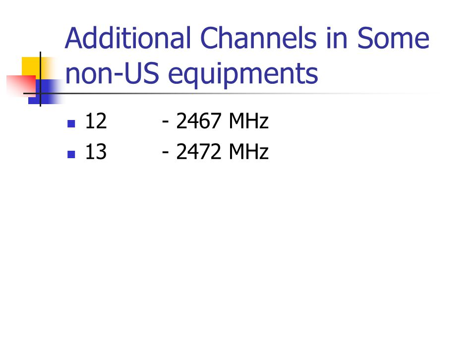 Additional Channels in Some non-US equipments 12- 2467 MHz 13- 2472 MHz