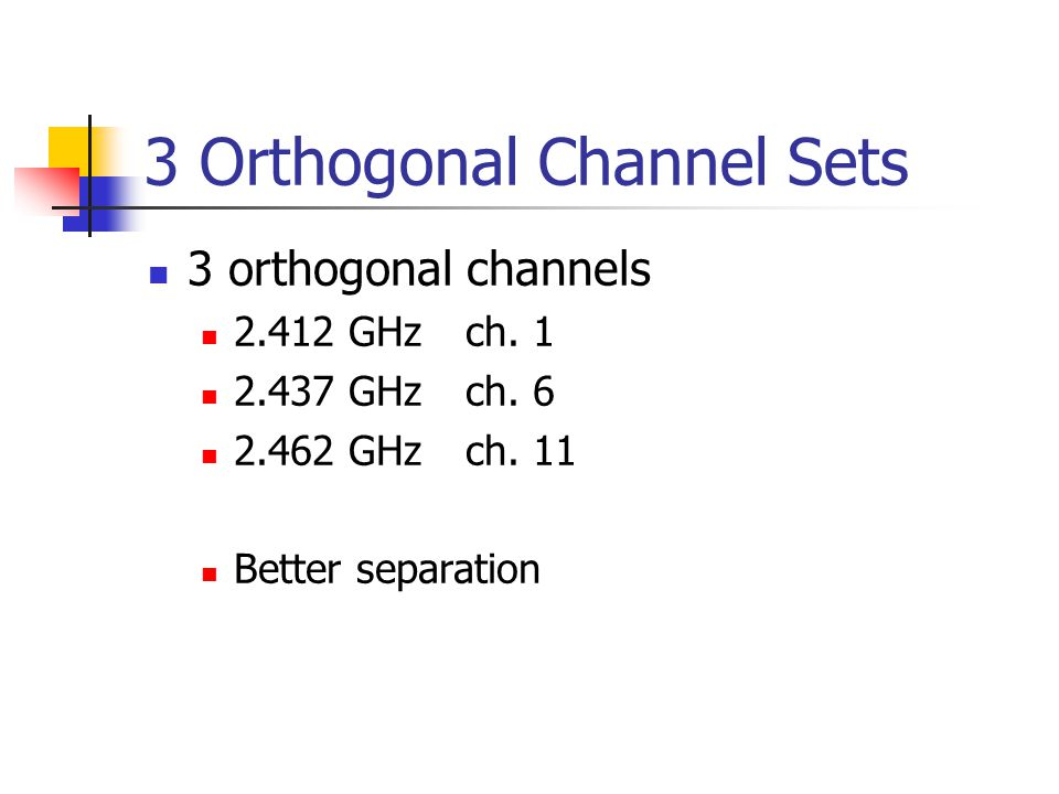 3 Orthogonal Channel Sets 3 orthogonal channels 2.412 GHzch.