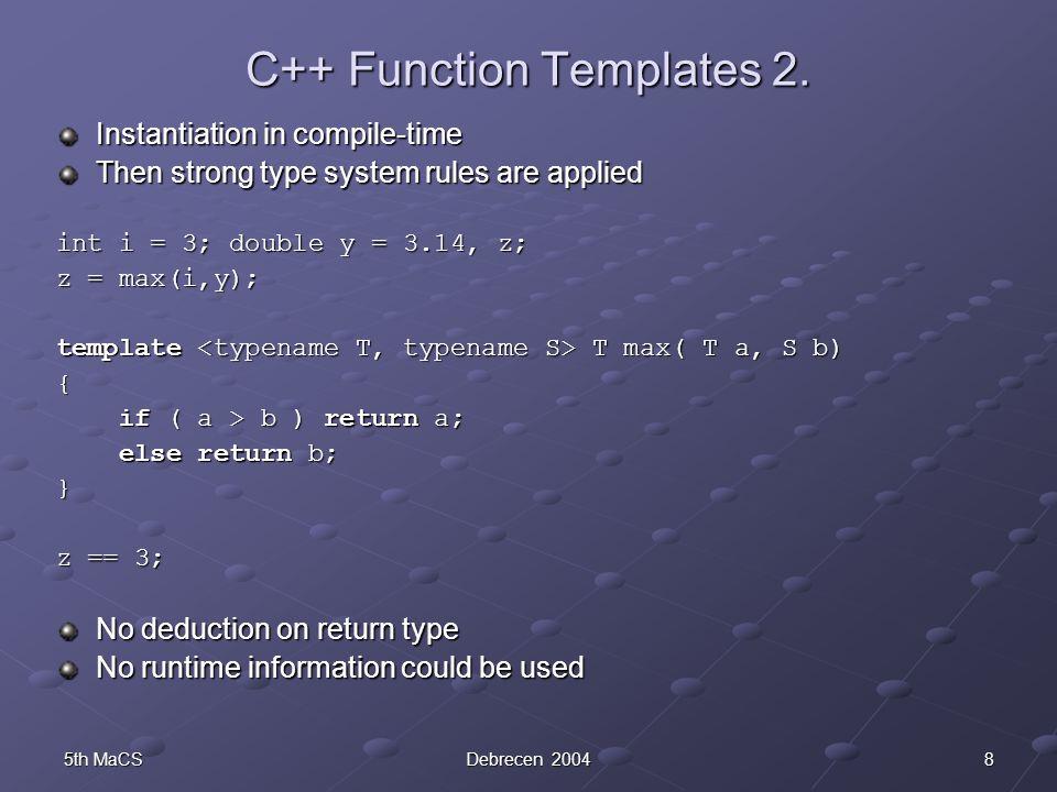 85th MaCSDebrecen 2004 C++ Function Templates 2.