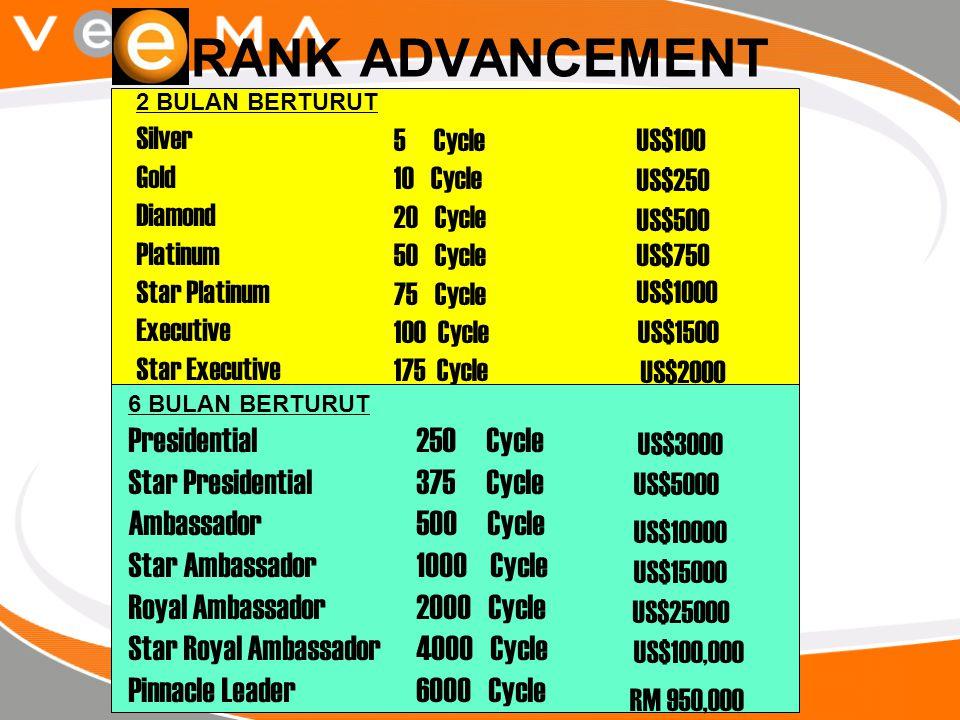 RANK ADVANCEMENT 2 BULAN BERTURUT Silver Gold Diamond Platinum Star Platinum Executive Star Executive 6 BULAN BERTURUT Presidential Star Presidential