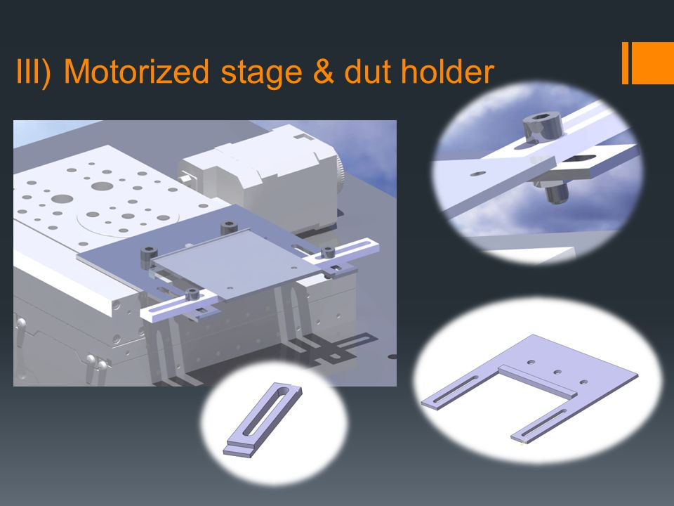 III) Motorized stage & dut holder