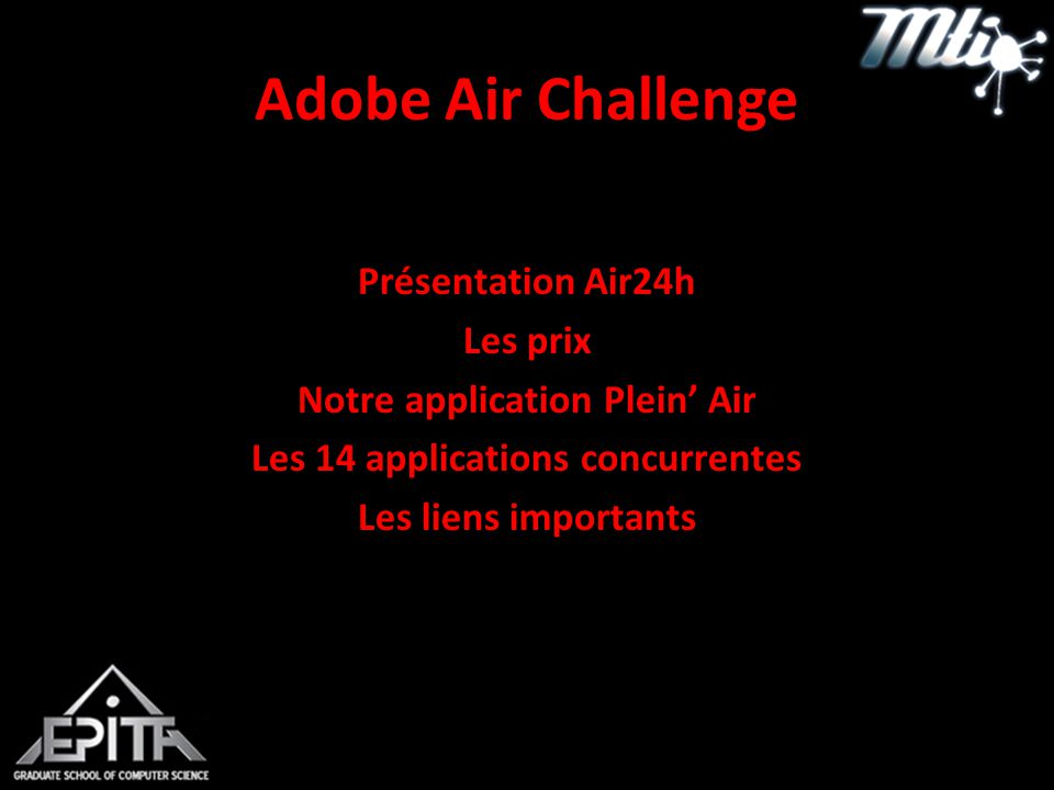 Adobe Air Challenge Présentation Air24h Les prix Notre application Plein' Air Les 14 applications concurrentes Les liens importants