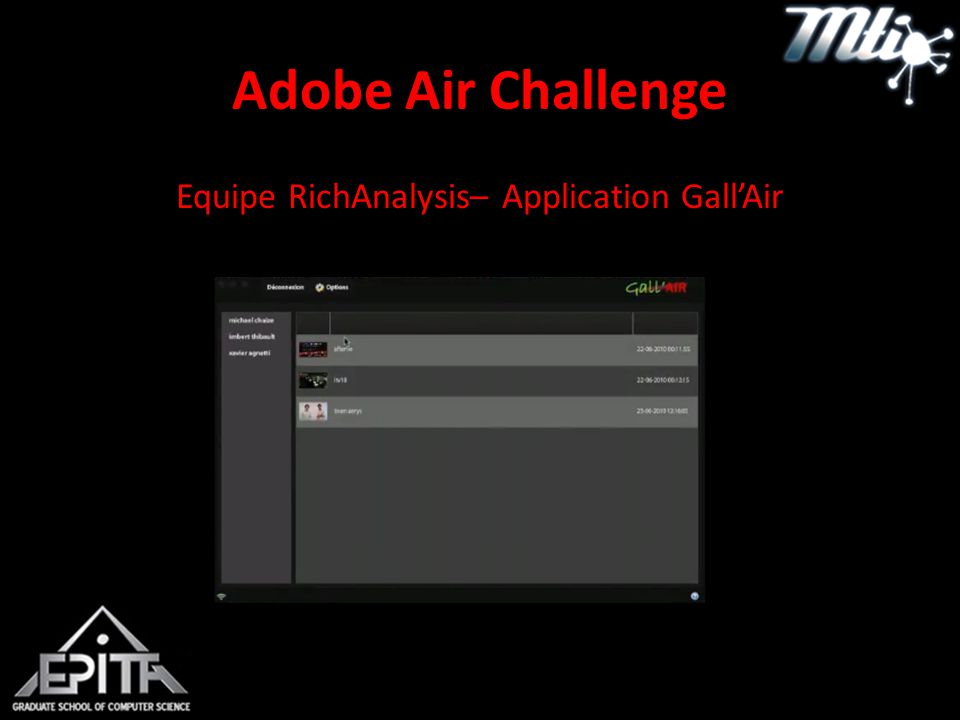 Adobe Air Challenge Equipe RichAnalysis– Application Gall'Air