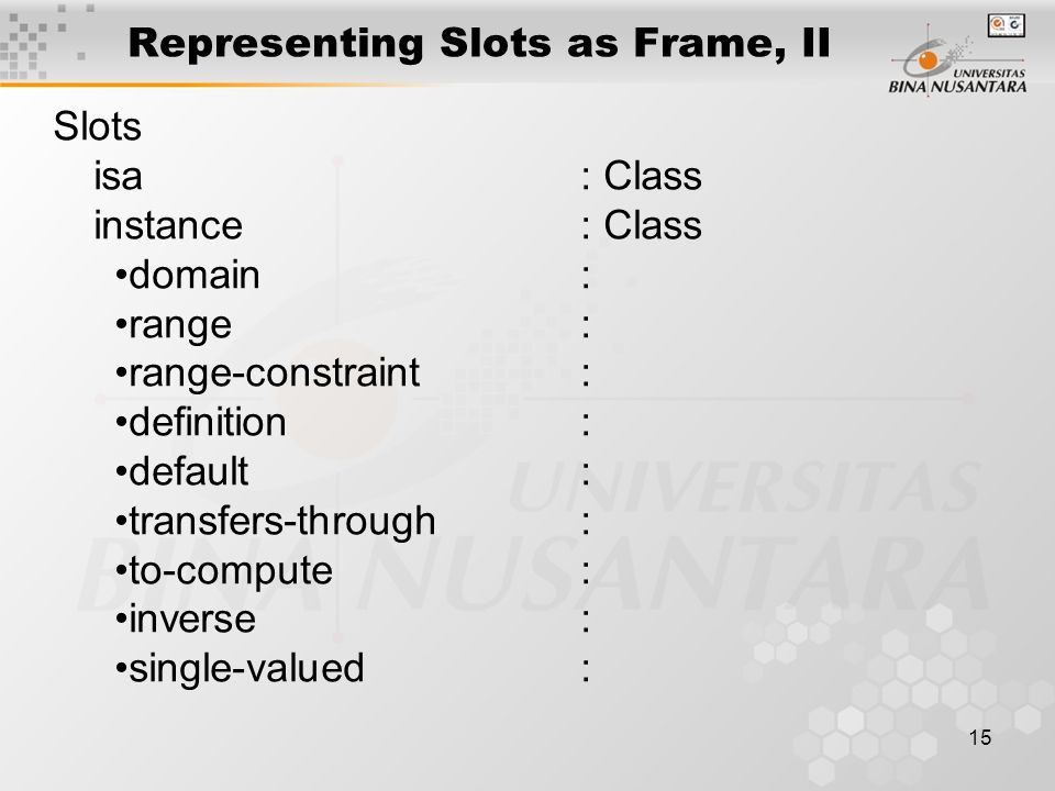 15 Representing Slots as Frame, II Slots isa : Class instance : Class domain : range : range-constraint: definition : default : transfers-through: to-