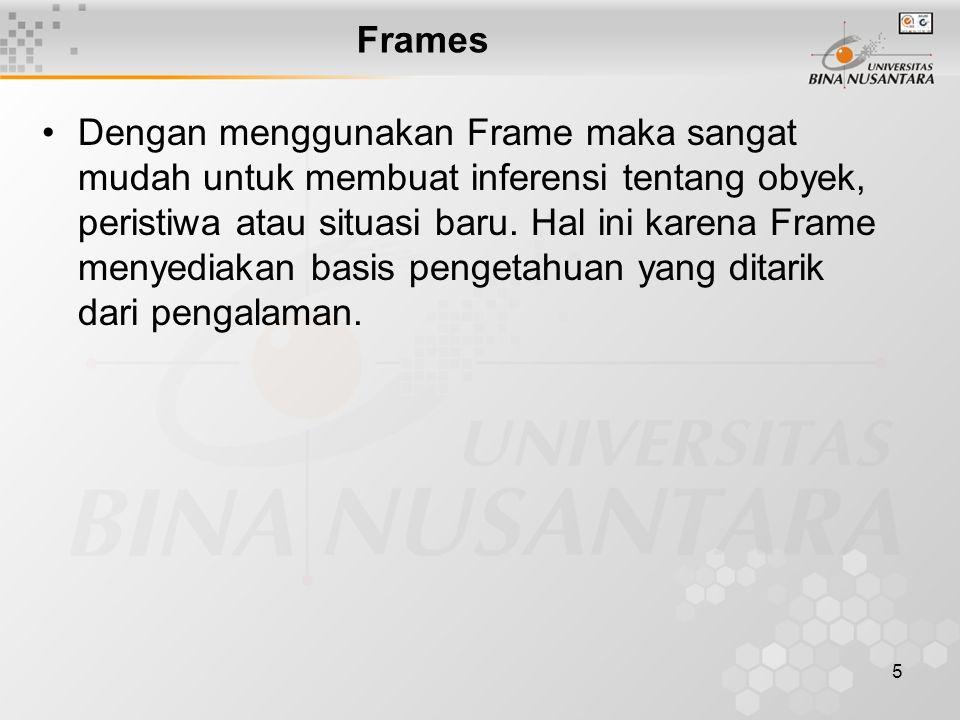 5 Frames Dengan menggunakan Frame maka sangat mudah untuk membuat inferensi tentang obyek, peristiwa atau situasi baru.