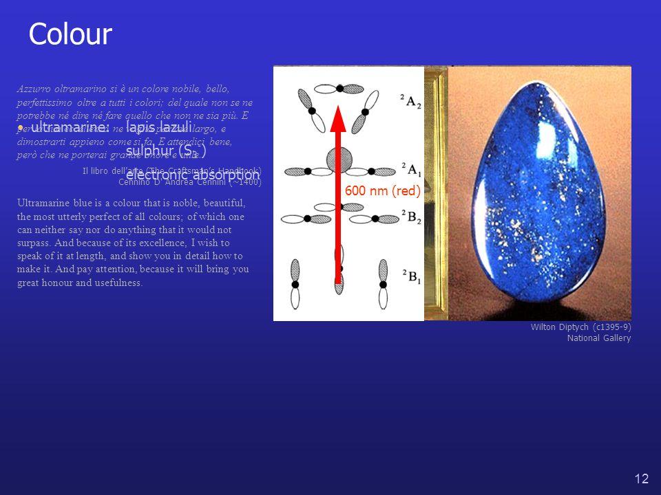 12 Colour Wilton Diptych (c1395-9) National Gallery ultramarine:lapis lazuli sulphur (S 3 - ) Azzurro oltramarino si è un colore nobile, bello, perfettissimo oltre a tutti i colori; del quale non se ne potrebbe né dire né fare quello che non ne sia più.