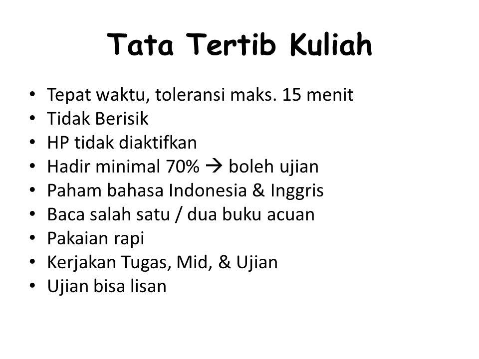 Tata Tertib Kuliah Tepat waktu, toleransi maks.