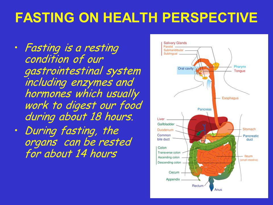 FASTING ON HEALTH PERSPECTIVE Fasting is a resting condition of our gastrointestinal system including enzymes and hormones which usually work to digest our food during about 18 hours.