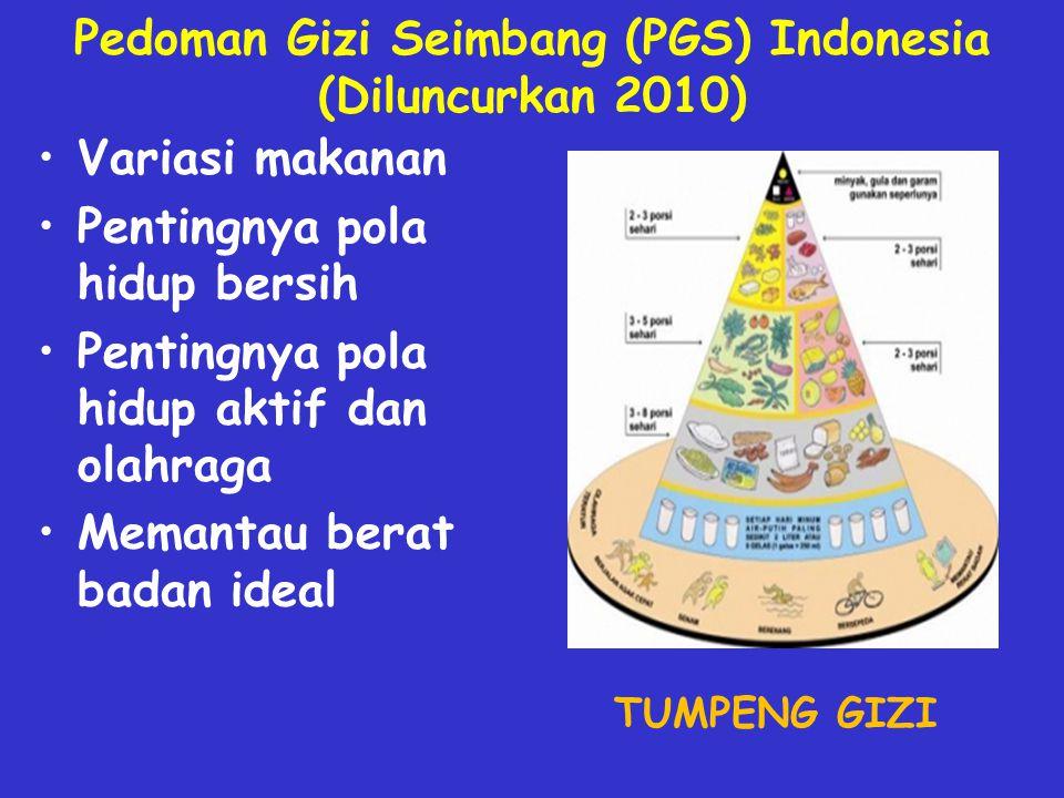 Pedoman Gizi Seimbang (PGS) Indonesia (Diluncurkan 2010) Variasi makanan Pentingnya pola hidup bersih Pentingnya pola hidup aktif dan olahraga Memantau berat badan ideal TUMPENG GIZI