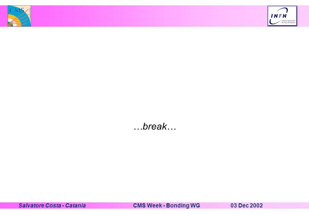03 Dec 2002CMS Week - Bonding WGSalvatore Costa - Catania …break…