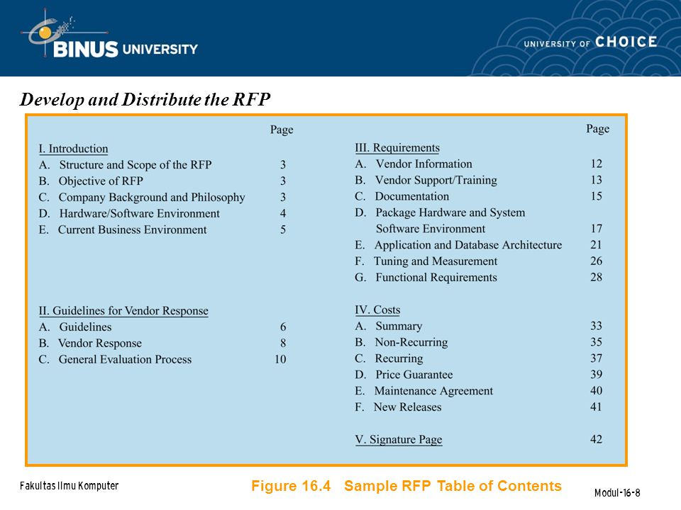 Fakultas Ilmu Komputer Modul-16-8 Develop and Distribute the RFP Figure 16.4 Sample RFP Table of Contents