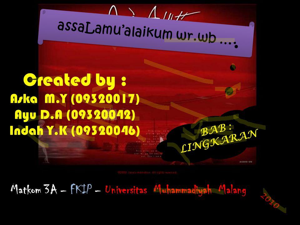 Created by : Aska M.Y (09320017) Ayu D.A (09320042) Indah Y.K (09320046) assaLamu'alaikum wr.wb ….