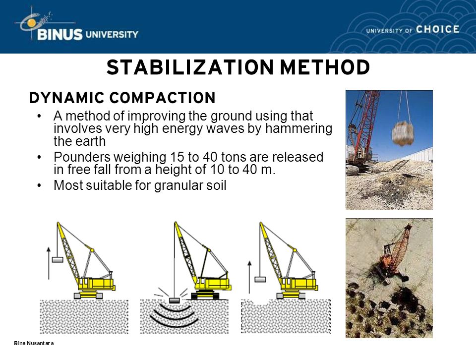 Bina Nusantara STABILIZATION METHOD DYNAMIC COMPACTION A method of improving the ground using that involves very high energy waves by hammering the earth Pounders weighing 15 to 40 tons are released in free fall from a height of 10 to 40 m.