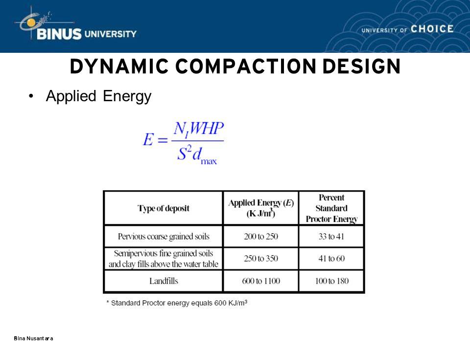 Bina Nusantara DYNAMIC COMPACTION DESIGN Applied Energy
