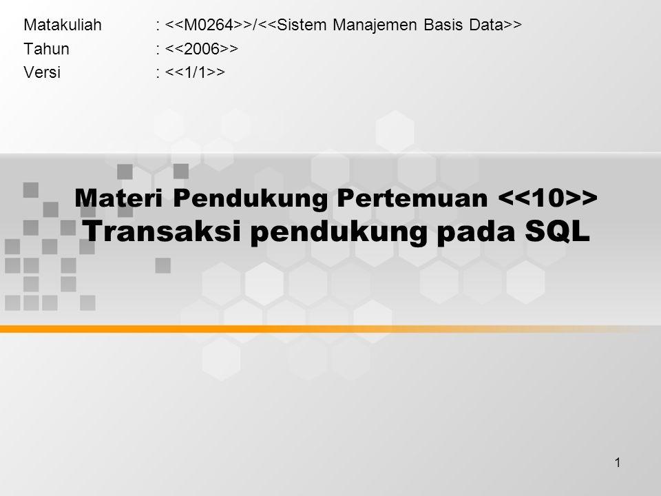 1 Materi Pendukung Pertemuan > Transaksi pendukung pada SQL Matakuliah: >/ > Tahun: > Versi: >