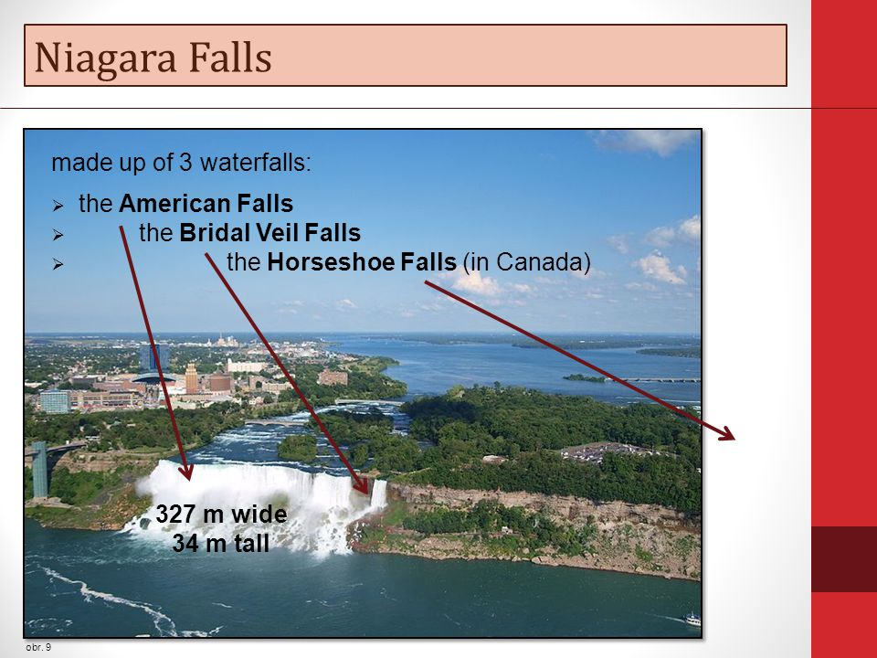 Niagara Falls obr. 9 made up of 3 waterfalls:  the American Falls  the Bridal Veil Falls  the Horseshoe Falls (in Canada) 327 m wide 34 m tall