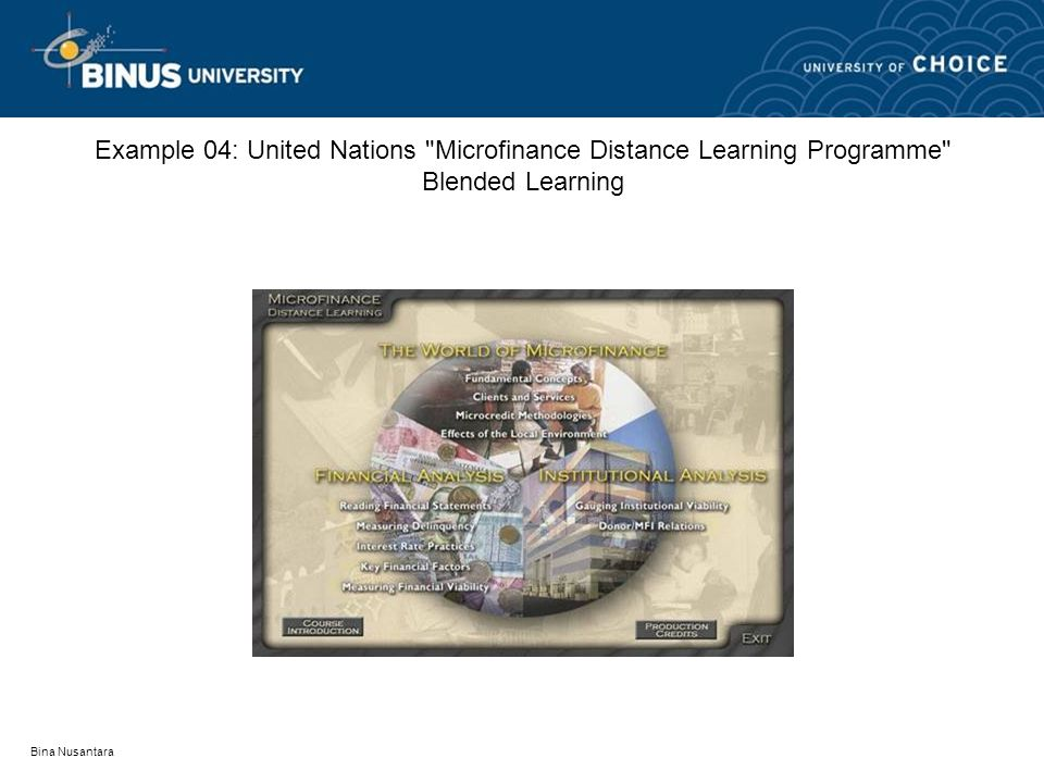 Bina Nusantara Example 04: United Nations Microfinance Distance Learning Programme Blended Learning