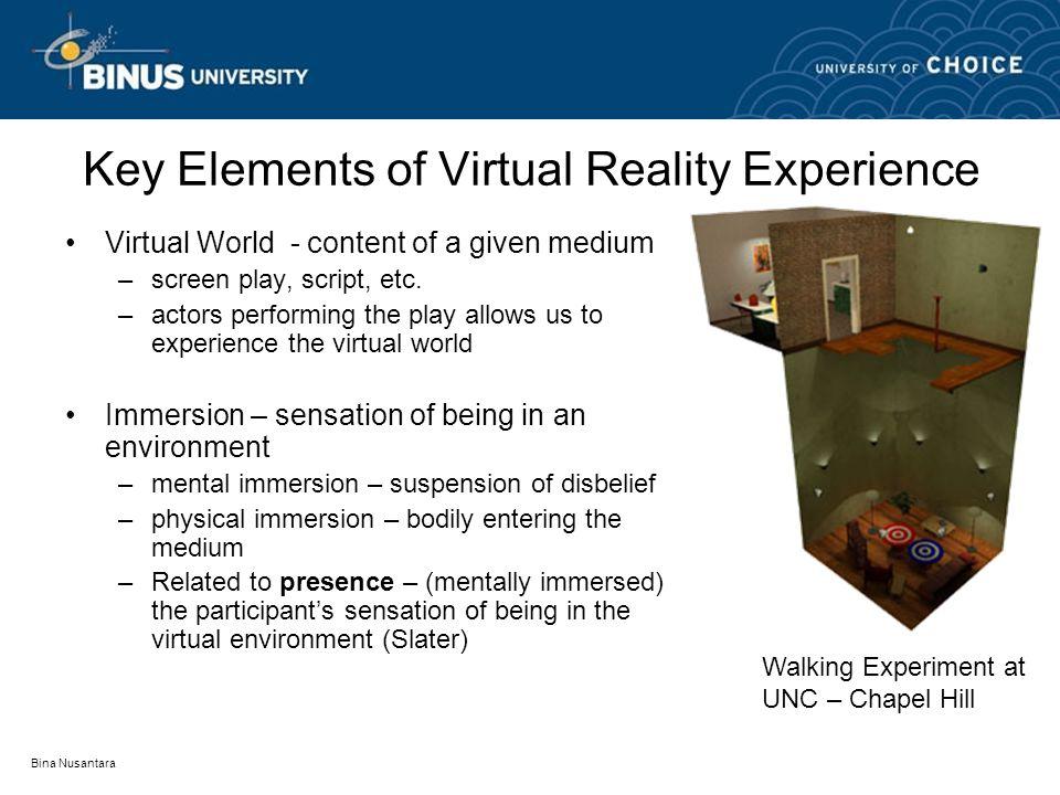 Bina Nusantara Key Elements of Virtual Reality Experience Virtual World - content of a given medium –screen play, script, etc.