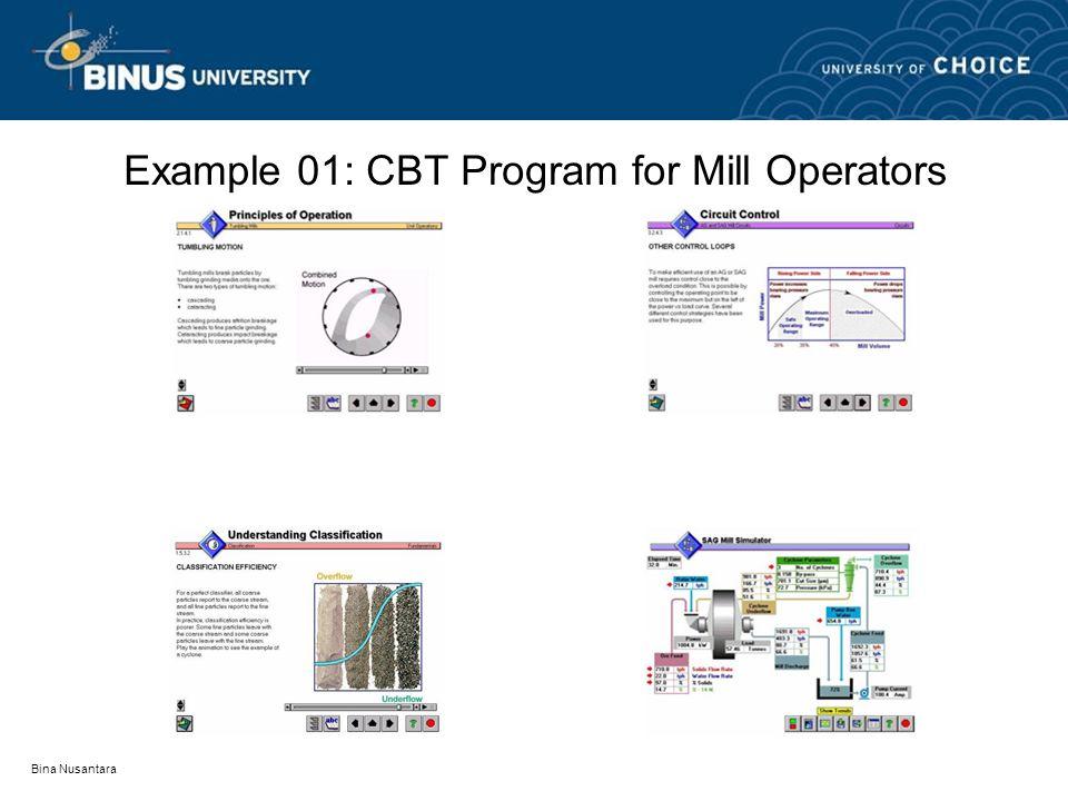 Bina Nusantara Example 01: CBT Program for Mill Operators