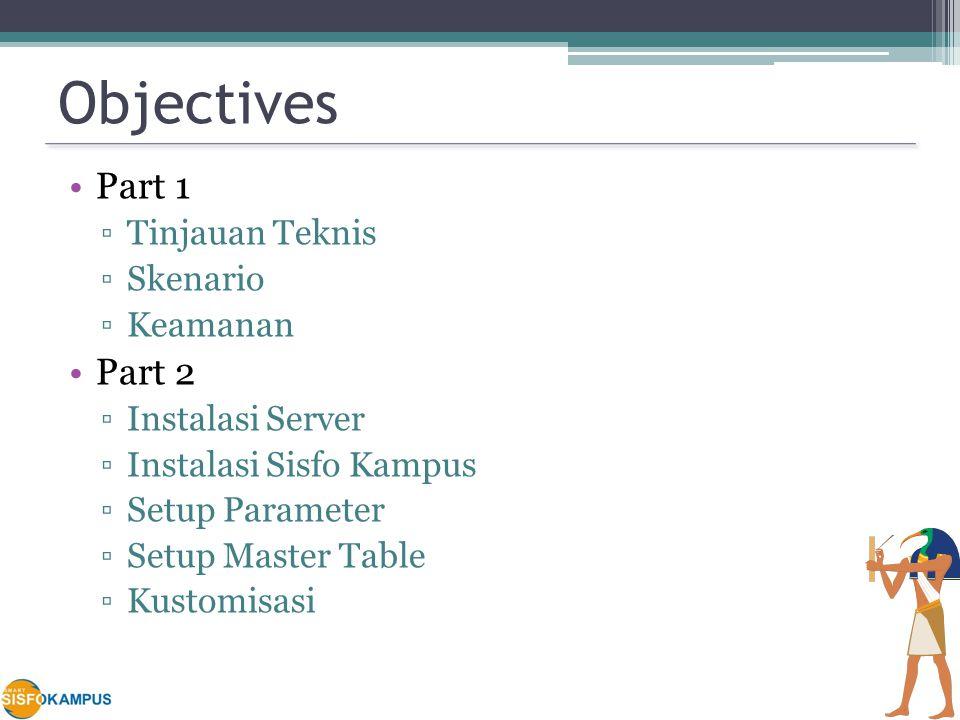 Objectives Part 1 ▫Tinjauan Teknis ▫Skenario ▫Keamanan Part 2 ▫Instalasi Server ▫Instalasi Sisfo Kampus ▫Setup Parameter ▫Setup Master Table ▫Kustomisasi