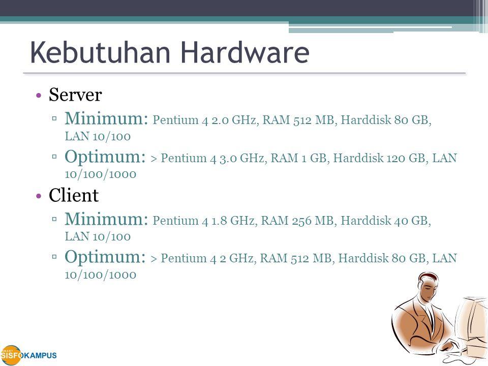 Kebutuhan Hardware Server ▫Minimum: Pentium 4 2.0 GHz, RAM 512 MB, Harddisk 80 GB, LAN 10/100 ▫Optimum: > Pentium 4 3.0 GHz, RAM 1 GB, Harddisk 120 GB, LAN 10/100/1000 Client ▫Minimum: Pentium 4 1.8 GHz, RAM 256 MB, Harddisk 40 GB, LAN 10/100 ▫Optimum: > Pentium 4 2 GHz, RAM 512 MB, Harddisk 80 GB, LAN 10/100/1000