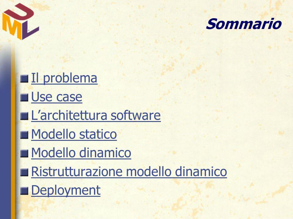 Sommario Il problema Use case L'architettura software Modello statico Modello dinamico Ristrutturazione modello dinamico Deployment