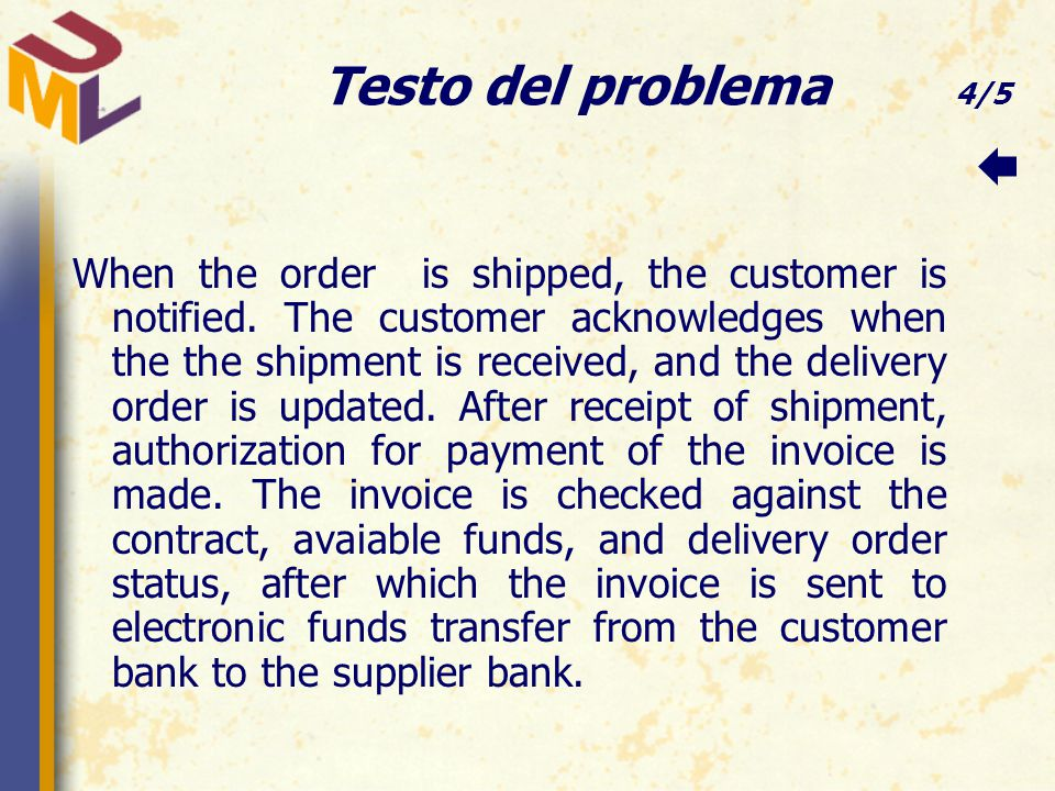 Testo del problema 4/5 When the order is shipped, the customer is notified.